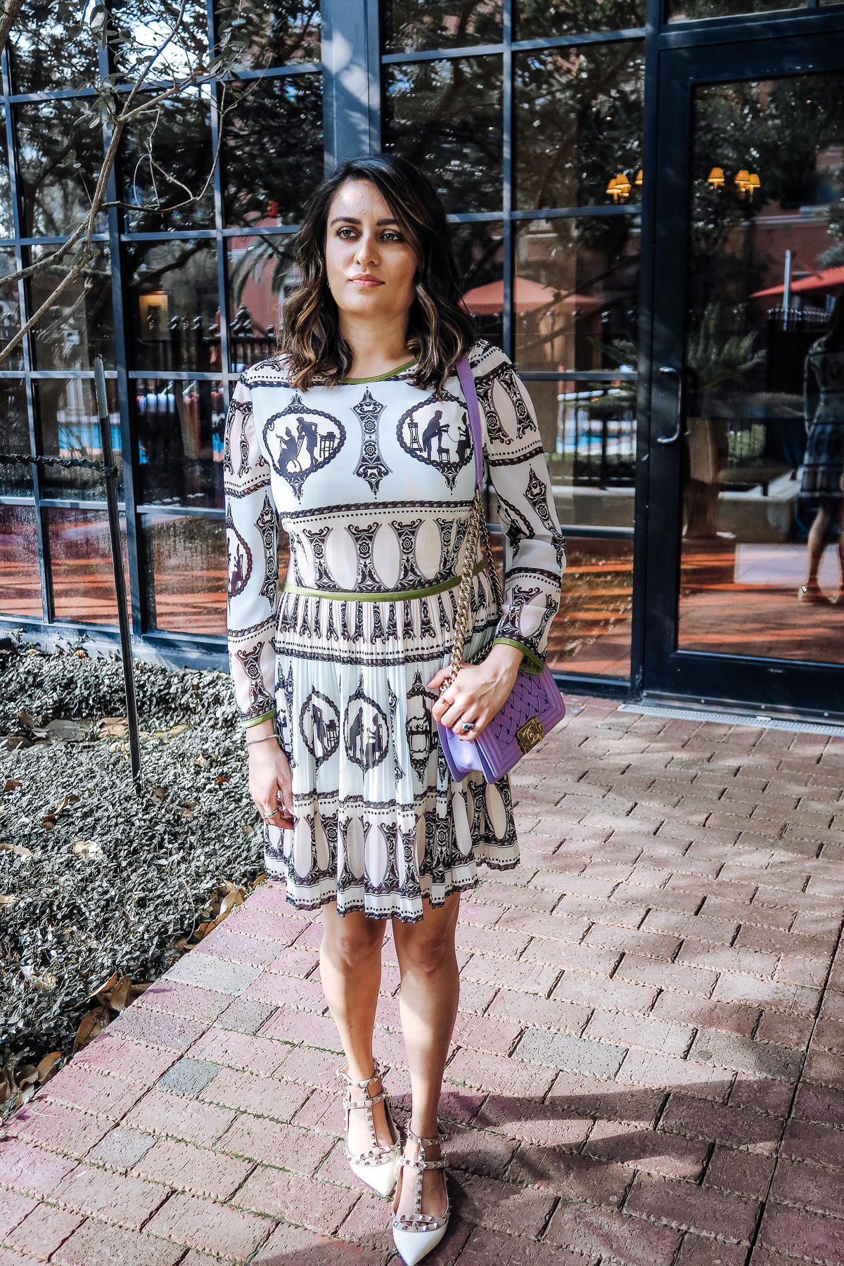 Image of ted baker dress | Valentino shoes | chanel bag | Hotel Granduca