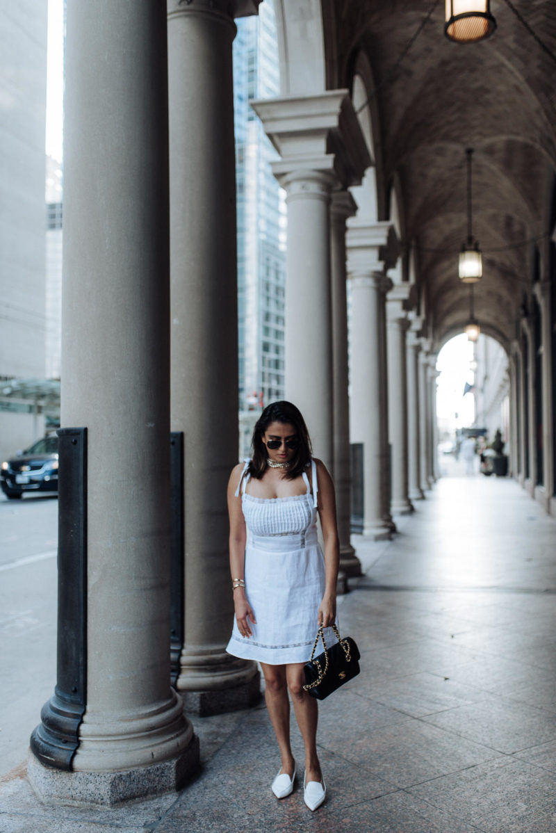 Image of summer whites | reformation dress | white dress | the cultured fashionista | white flats | chanel bag